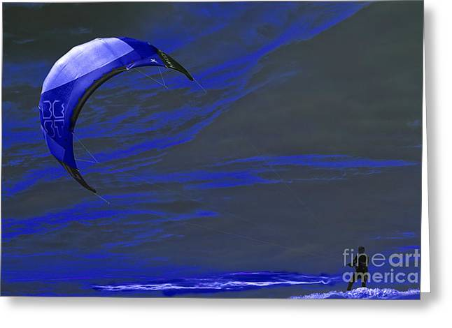 Kite Surfing Greeting Cards - Surreal Surfing blue Greeting Card by Terri  Waters