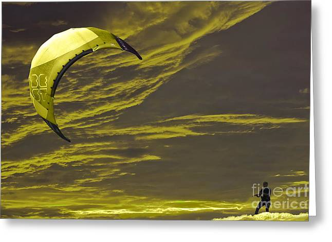 Kite Surfing Greeting Cards - Surreal Surfing gold Greeting Card by Terri  Waters