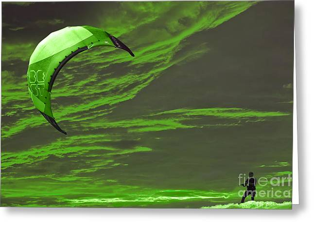 Kite Surfing Greeting Cards - Surreal Surfing green Greeting Card by Terri  Waters