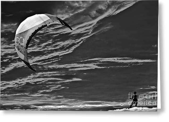 Kite Surfing Greeting Cards - Surreal Surfing Mono Greeting Card by Terri  Waters