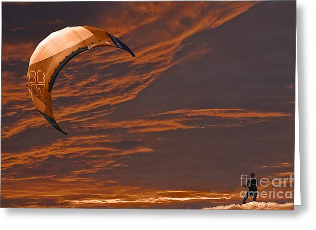 Kite Surfing Greeting Cards - Surreal Surfing orange Greeting Card by Terri  Waters