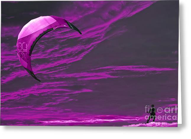 Kite Surfing Greeting Cards - Surreal Surfing pink Greeting Card by Terri  Waters