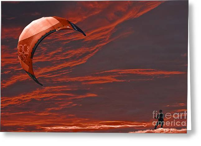 Kite Surfing Greeting Cards - Surreal Surfing red Greeting Card by Terri  Waters
