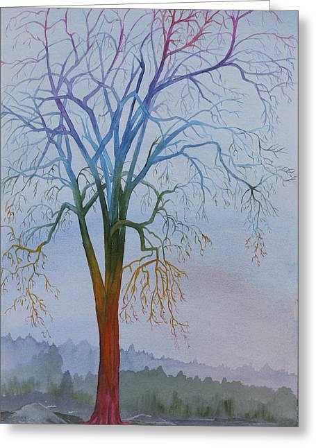 Chakra Rainbow Greeting Cards - Surreal Tree No. 3 Greeting Card by Debbie Homewood