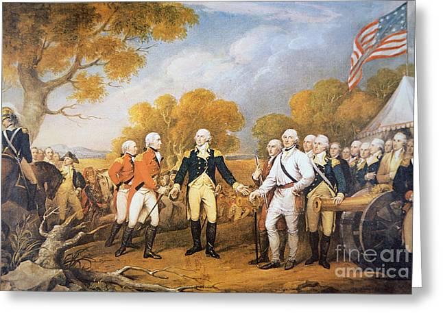 Surrender Of General Burgoyne At Saratoga, New York, 17 October 1777 Greeting Card by John Trumbull