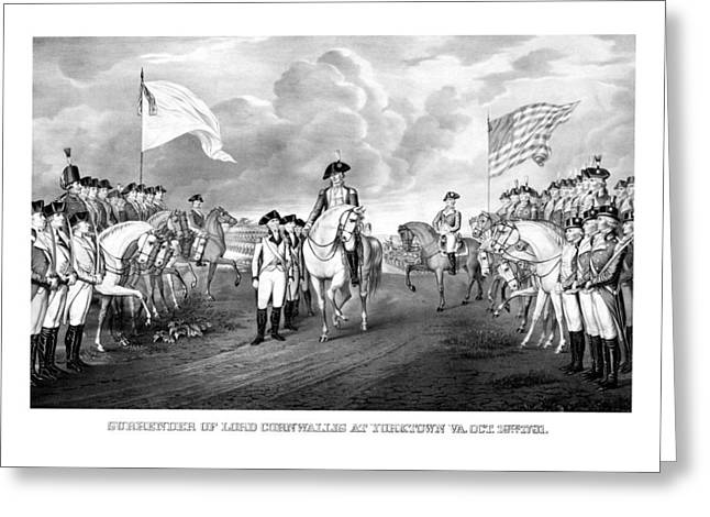 Revolutionary War Drawings Greeting Cards - Surrender Of Lord Cornwallis At Yorktown Greeting Card by War Is Hell Store