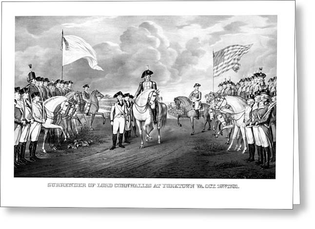 Founding Fathers Mixed Media Greeting Cards - Surrender Of Lord Cornwallis At Yorktown Greeting Card by War Is Hell Store