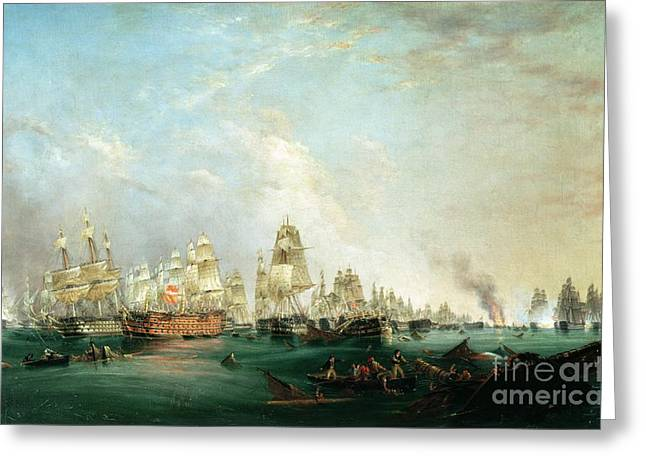 Cannon Greeting Cards - Surrender of the Santissima Trinidad to Neptune The Battle of Trafalgar Greeting Card by Lieutenant Robert Strickland Thomas