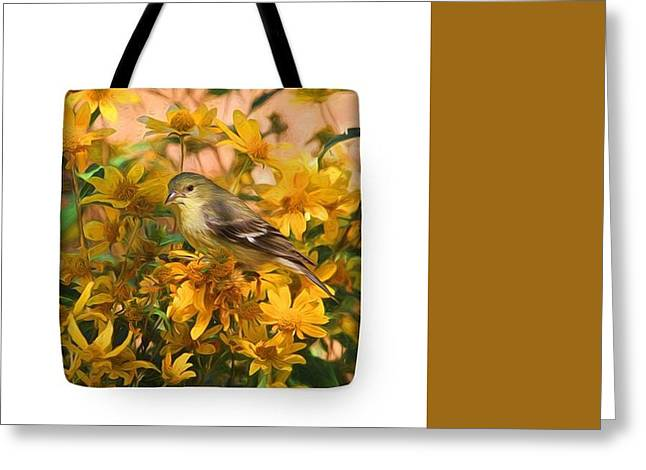 Finch Greeting Cards - Surrounded by Gold 2 Greeting Card by Donna Kennedy
