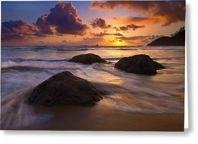 Tillamook Rock Lighthouse Greeting Cards - Surrounded by the Sea Greeting Card by Mike  Dawson