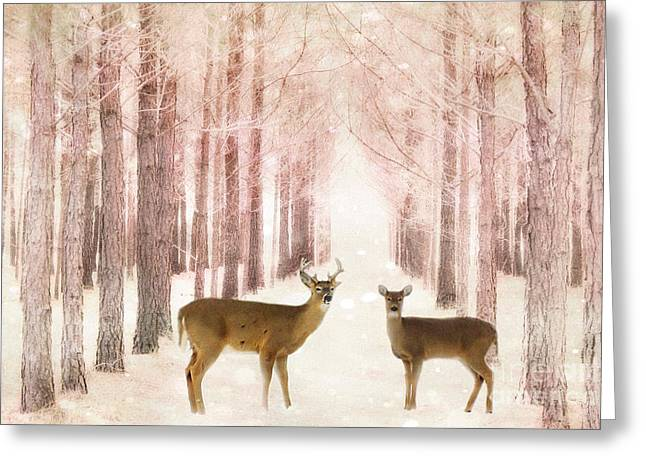 Deer Woodlands Nature Print - Dreamy Surreal Deer Woodlands Nature Pink Forest Landscape Greeting Card by Kathy Fornal
