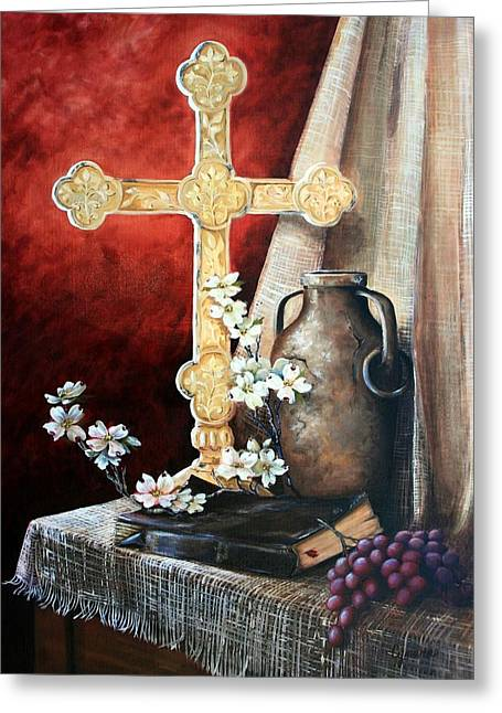 Wonderous Greeting Cards - Survey the Wonderous Cross Greeting Card by Cynara Shelton