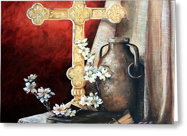 Survey the Wonderous Cross Greeting Card by Cynara Shelton