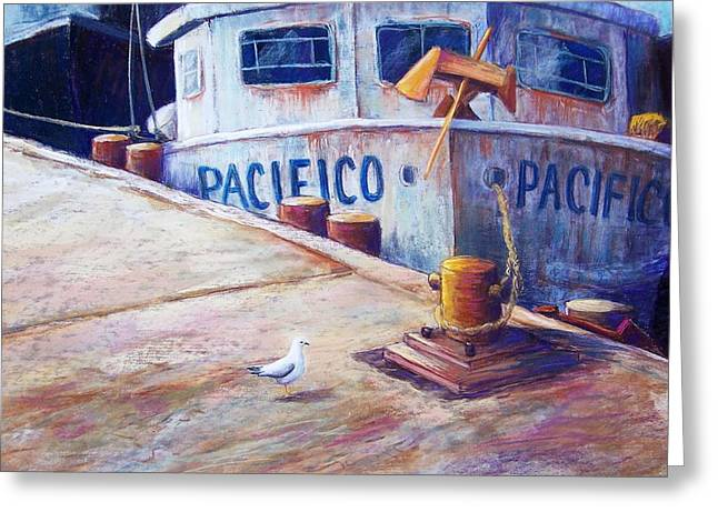 Dock Pastels Greeting Cards - Surveying the Fleet Greeting Card by Candy Mayer