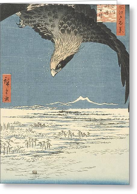 Susaki And The Jumantsubo Plain Near Fukagawa Greeting Card by Hiroshige