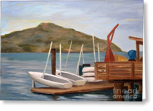 Docked Sailboat Greeting Cards - Susalito Dock Greeting Card by Santiago Perez