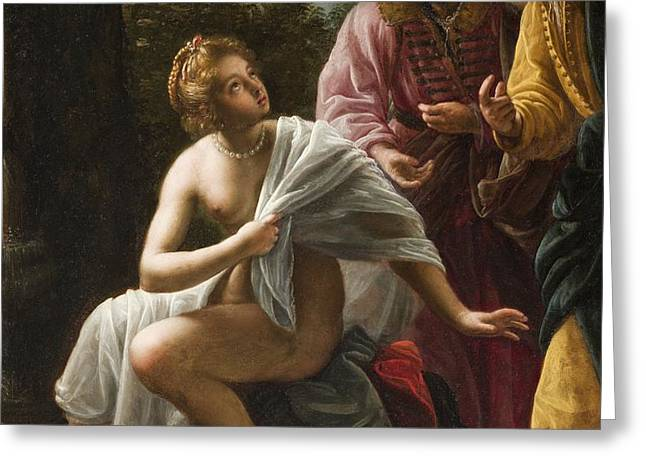 Susanna and the Elders Greeting Card by Ottavio Mario Leoni