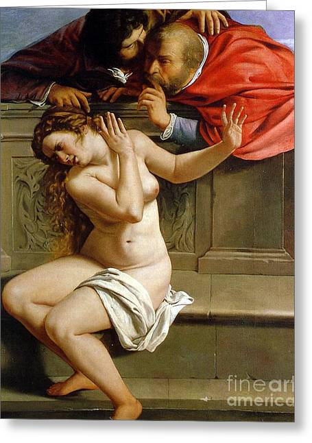 Modesty Greeting Cards - Susannah and the Elders Greeting Card by Artemisia Gentileschi
