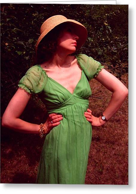 Dress Greeting Cards - Susanne in green 2 Greeting Card by Brian Dahlen