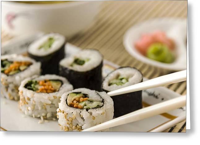 Wasabi Greeting Cards - Sushi Anyone? Greeting Card by LeeAnn White