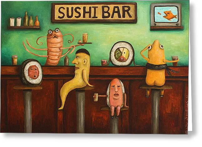 Sushi Bar Darker Tone Image Greeting Card by Leah Saulnier The Painting Maniac