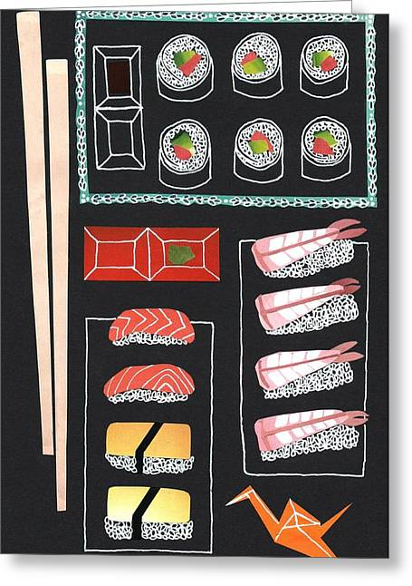 Assorted Mixed Media Greeting Cards - Sushi Greeting Card by Isobel Barber