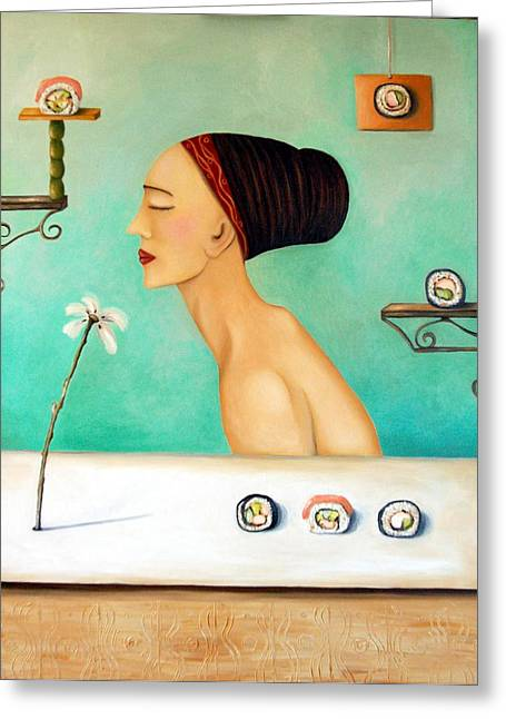 Surreal Humor Greeting Cards - Sushi Lover Greeting Card by Leah Saulnier The Painting Maniac