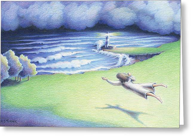 Storm Clouds Drawings Greeting Cards - Suspended In Light Greeting Card by Amy S Turner