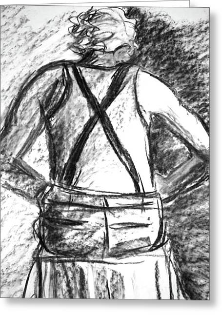 Suspenders Drawings Greeting Cards - Suspenders Greeting Card by Cathie Richardson