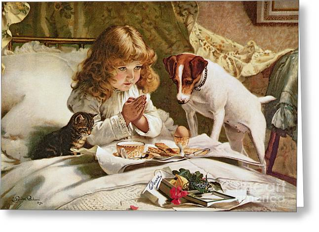 Dogs Paintings Greeting Cards - Suspense Greeting Card by Charles Burton