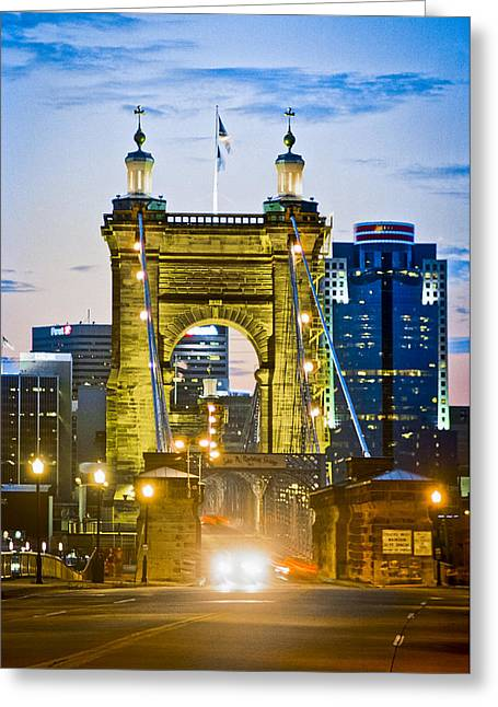 American Pastime Greeting Cards - Suspension Bridge Greeting Card by Scott Meyer