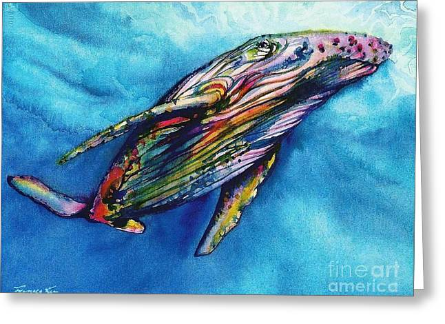 Humpback Whale Paintings Greeting Cards - Suspension Greeting Card by Frances Ku