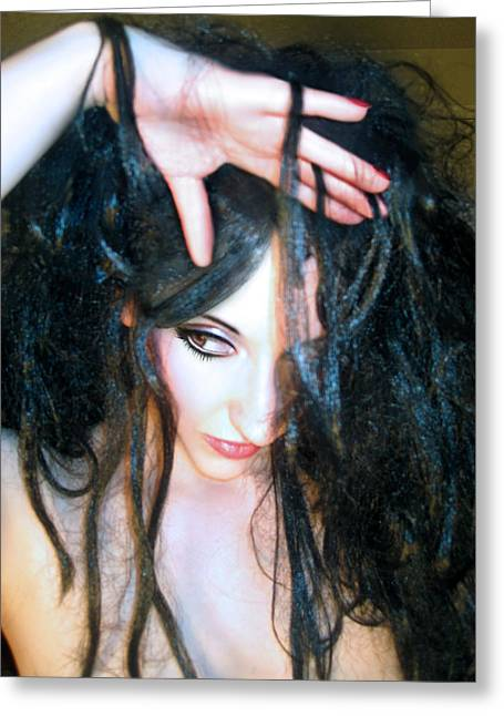 Desdemona Greeting Cards - Suspicion - Self Portrait Greeting Card by Jaeda DeWalt