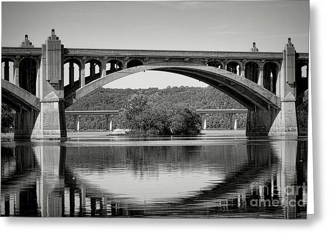 Wrightsville Greeting Cards - Susquehanna River Bridges  Greeting Card by Olivier Le Queinec