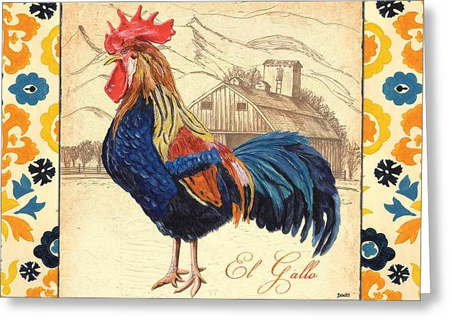 Cockerel Greeting Cards - Suzani Rooster 1 Greeting Card by Debbie DeWitt