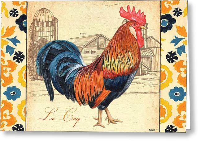 Cockerel Greeting Cards - Suzani Rooster 2 Greeting Card by Debbie DeWitt
