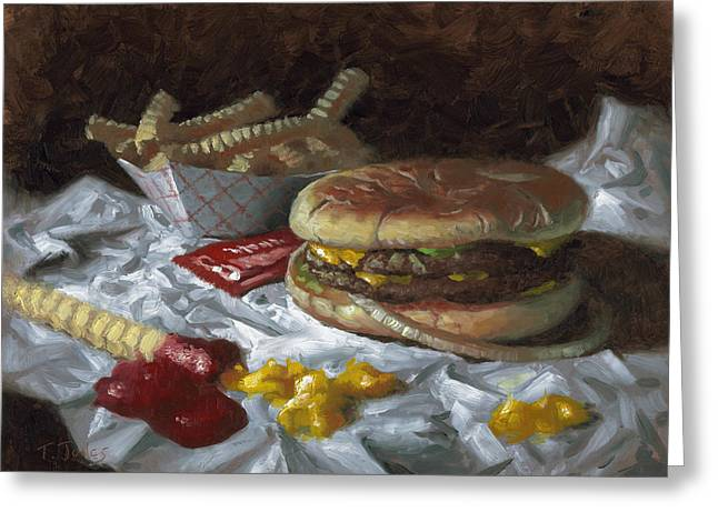 Cheeseburger Paintings Greeting Cards - Suzy-Q Double Cheeseburger Greeting Card by Timothy Jones