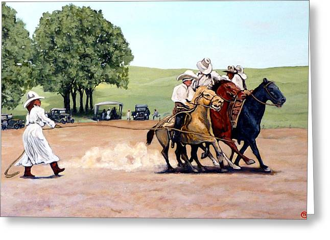 Tomroderickart.com Greeting Cards - Suzzi Q. Whirling the Rope Greeting Card by Tom Roderick