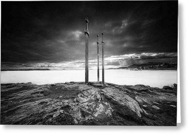 Sword Greeting Cards - Sverd i fjell Greeting Card by Erik Brede