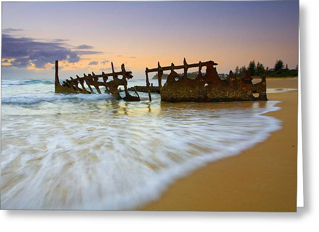 Shipwreck Greeting Cards - Swallowed by the Tides Greeting Card by Mike  Dawson