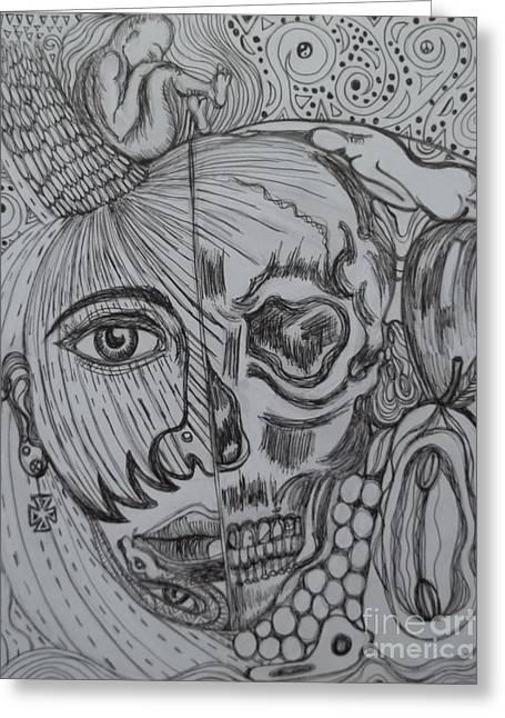 Sarasota Artist Drawings Greeting Cards - Swallowed Pride Greeting Card by Anita Wexler