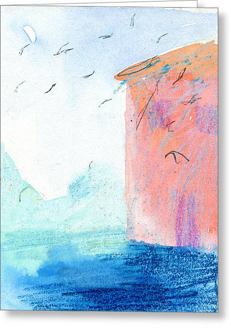 Shades Of Red Drawings Greeting Cards - Swallows in Italy  Greeting Card by Elizabetha Fox
