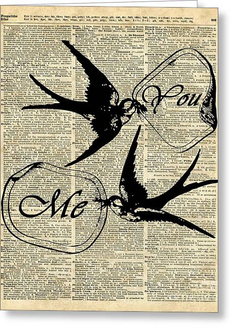 Swallows In Love,flying Birds Vintage Dictionary Art Greeting Card by Jacob Kuch