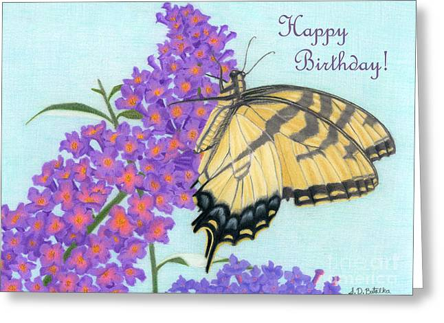 Swallowtail Butterfly And Butterfly Bush- Happy Birthday Card Greeting Card by Sarah Batalka