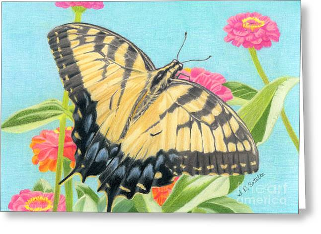 Cocoon Drawings Greeting Cards - Swallowtail Butterfly And Zinnias Greeting Card by Sarah Batalka