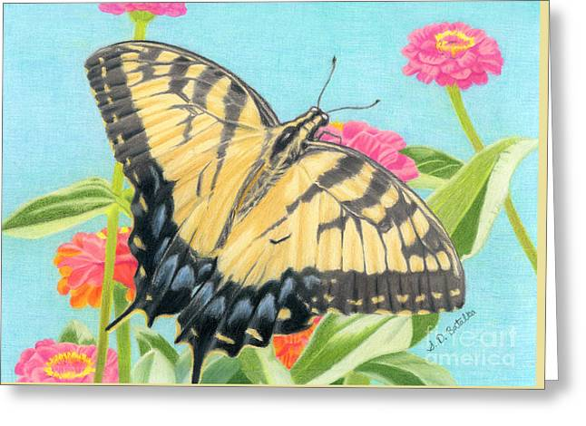 Swallowtail Butterfly And Zinnias Greeting Card by Sarah Batalka