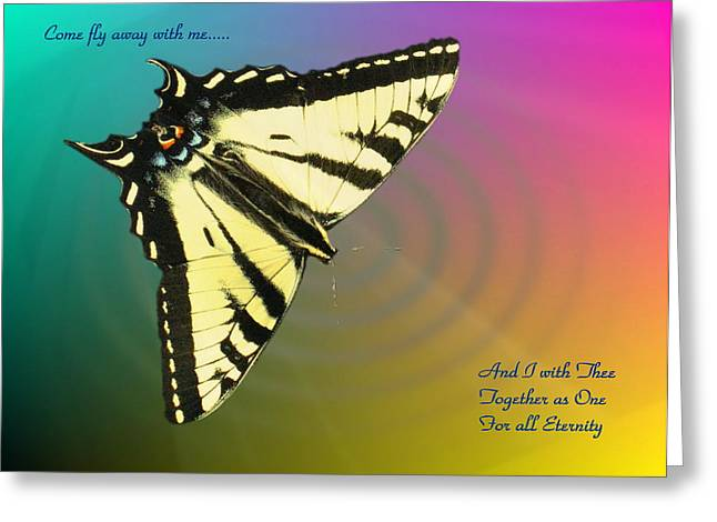 Butterfly In Motion Greeting Cards - Swallowtail - Come Fly Away With Me Greeting Card by Joyce Dickens