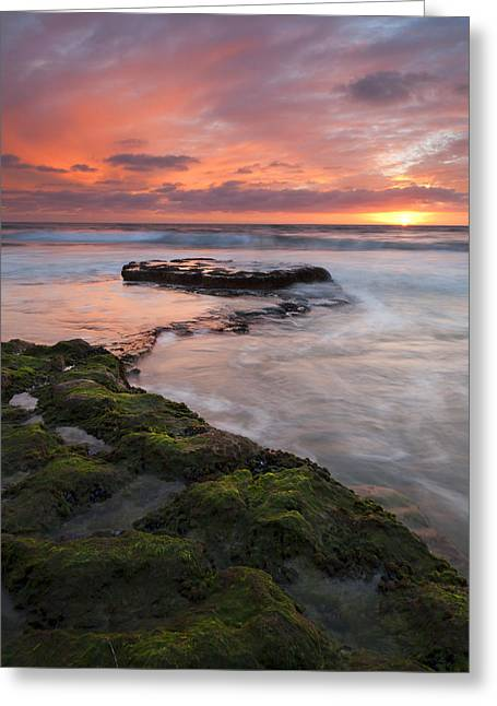 California Beaches Greeting Cards - Swamis Beach Sunset Greeting Card by Mike  Dawson