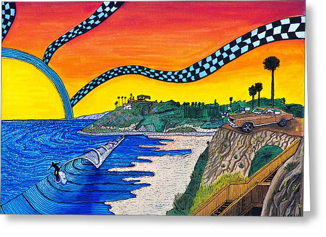 Surfer Art Greeting Cards - Swamis Sunset Greeting Card by Sam Bernal