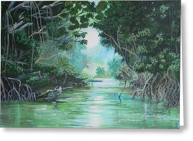 Mangrove Forest Paintings Greeting Cards - Swampland Greeting Card by Samantha Rochard